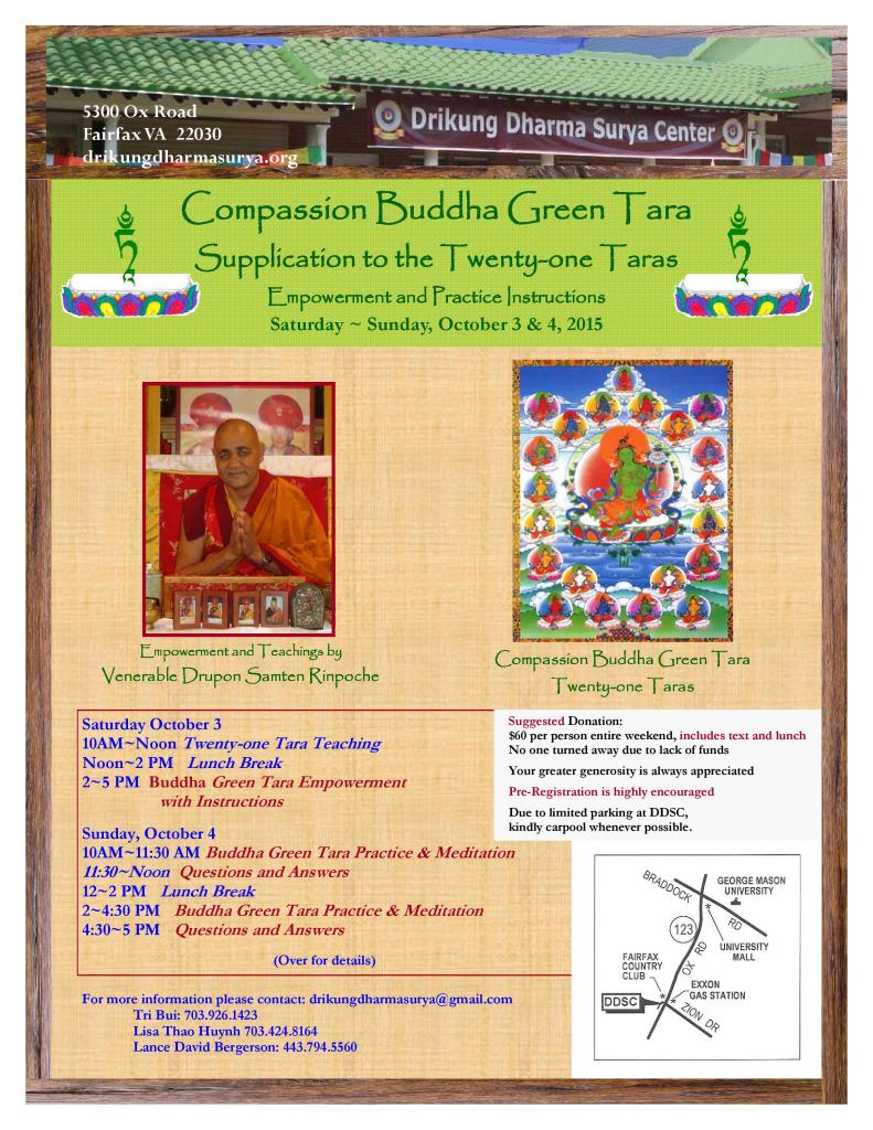 DDSC Green Tara Empowerment and Meditation Practices Flyer - English Oct 2015-page-001