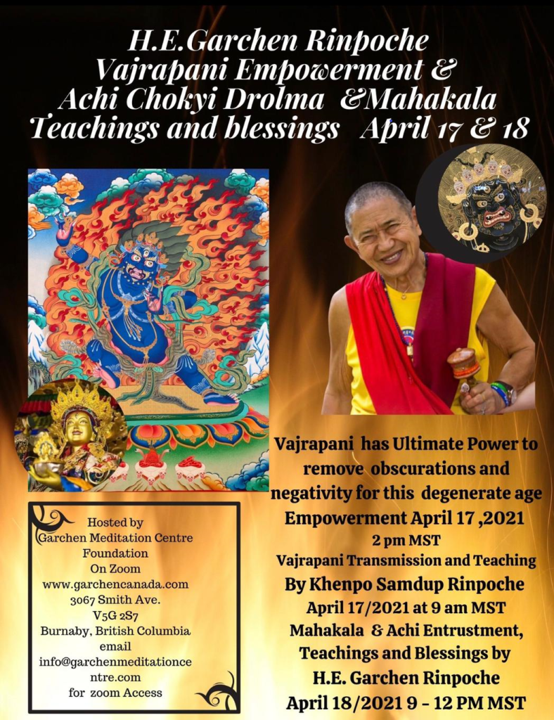 Varjapani Empowerment by HE Garchen  Rinpoche 17-18 April 2021