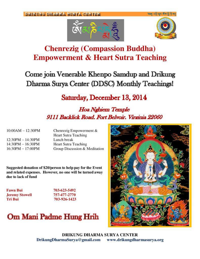 DDSC Dharma Curriculum Dec 13 Event - Compassion Buddha Chenrezig Empowerment & Heart Sutra Teaching Updated