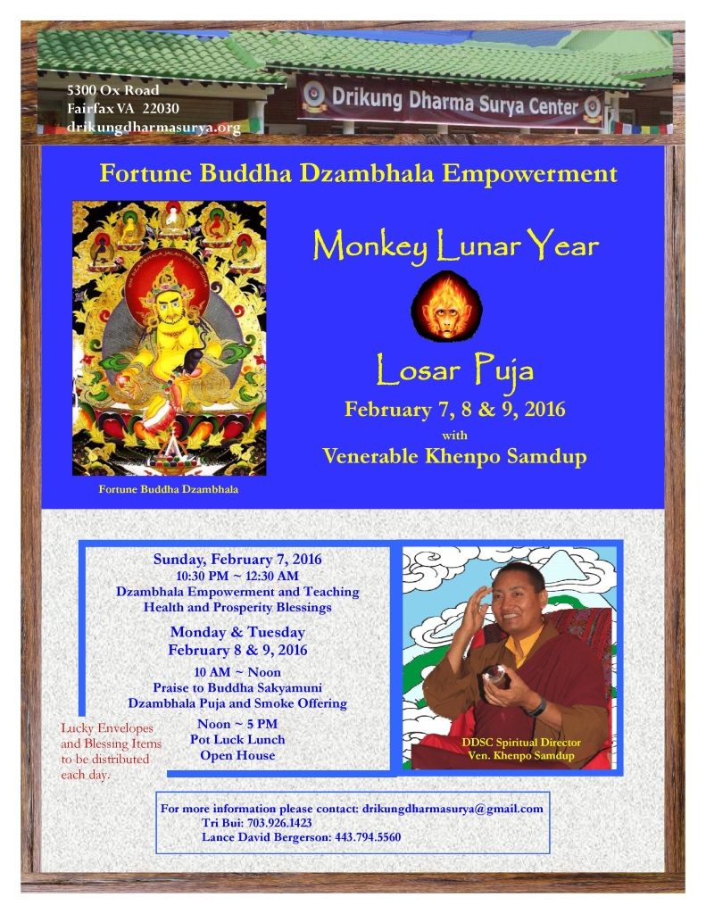Lunar Year of Monkey & Losar Year Celebration - White Dzambhla Enmpowerment & Fortune Blessings-page-001