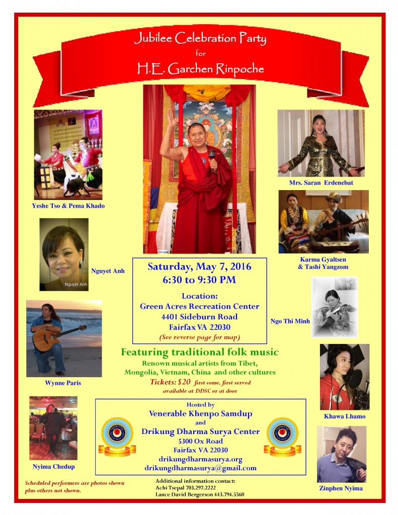 Flyer for Jubilee Garchen Rinpoche 80th Long Life Party - 7 May 2016-page-001